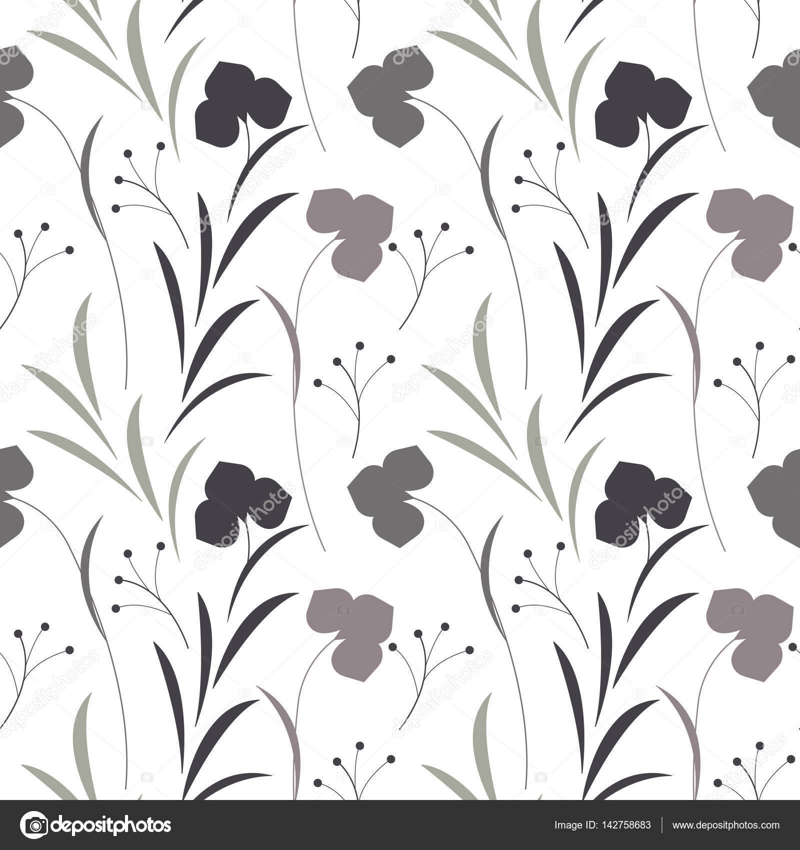 Cute Seamless Pattern With Spring Flowers Leaves And Plants Stock