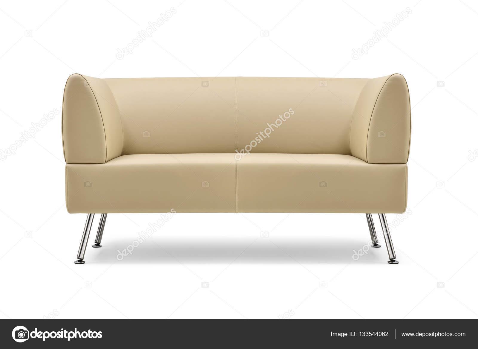 Beige Leather Sofa Front View Stock Photo C Antoniotruzzi 133544062