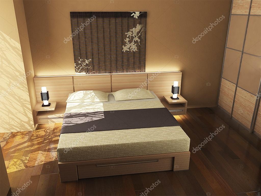 Oosterse geïnspireerde slaapkamer ontwerp, 3d render — Stockfoto ...