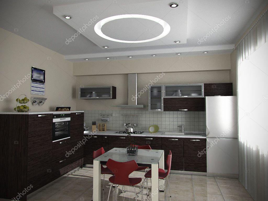Keuken en eetkamer ideeën, 3d render — Stockfoto © ThreeDiCube ...