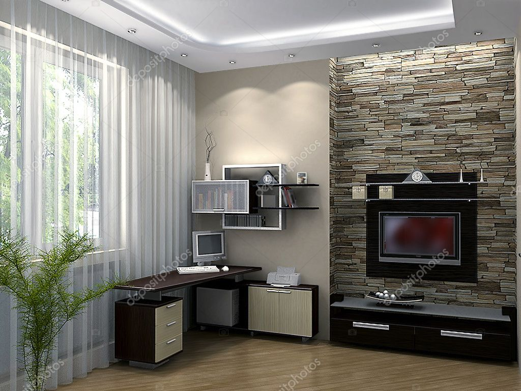 Tiener slaapkamer ideeën van het ontwerp, 3d render — Stockfoto ...