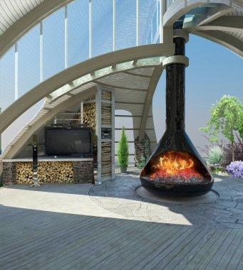 Modern gazebo inside 3D illustration
