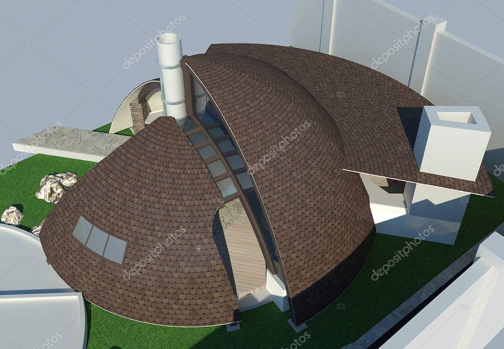 Modern gazebo aerial 3D illustration