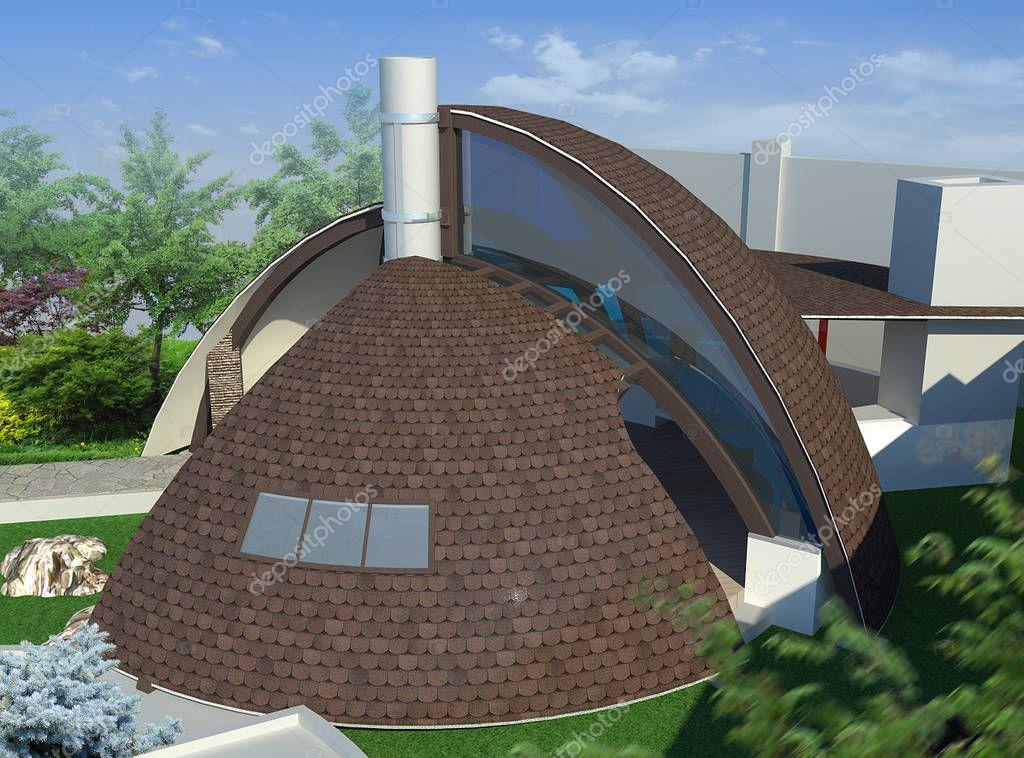Modern gazebo exterior and alfresco living area, 3D illustration