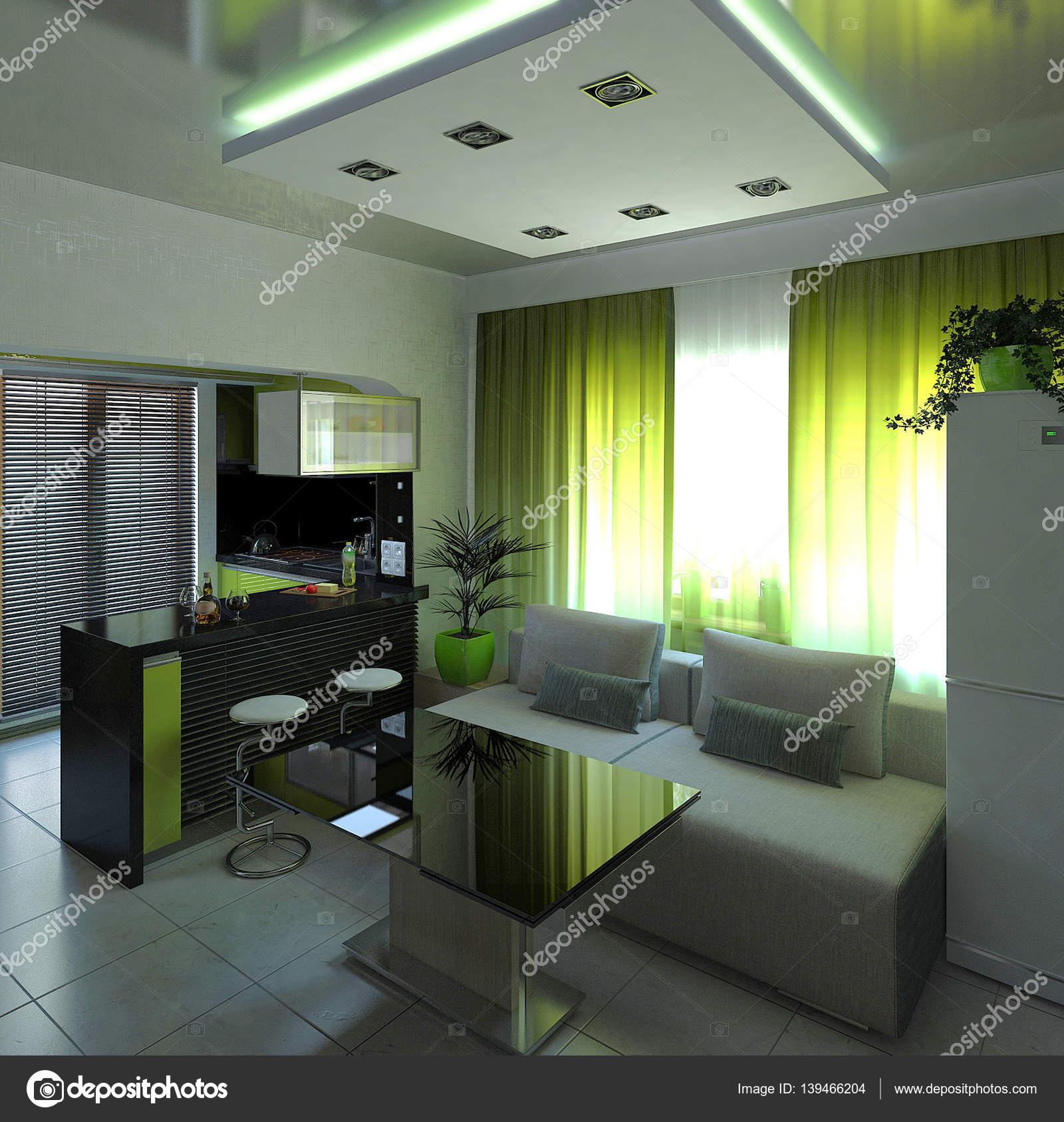 Offenes Konzept Innenarchitektur, 3D-Rendering — Stockfoto ...