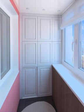 Minimalist balcony design, 3d illustration