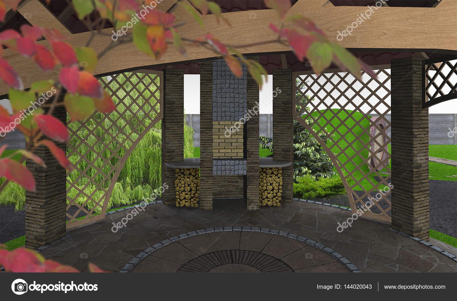 Ideas de cocina al aire libre mirador, render 3d — Foto de stock ...