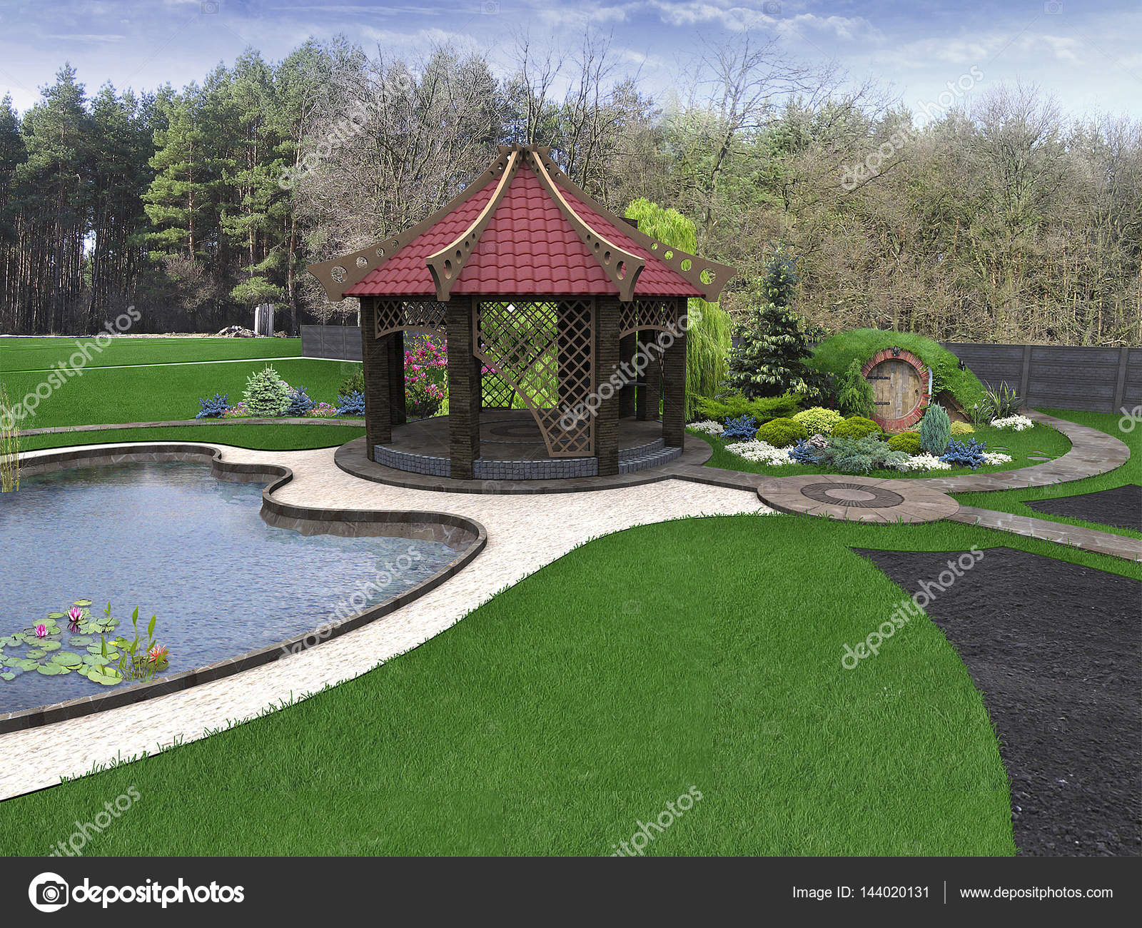 Garten-Design-Ideen, 3d render — Stockfoto © ThreeDiCube #144020131