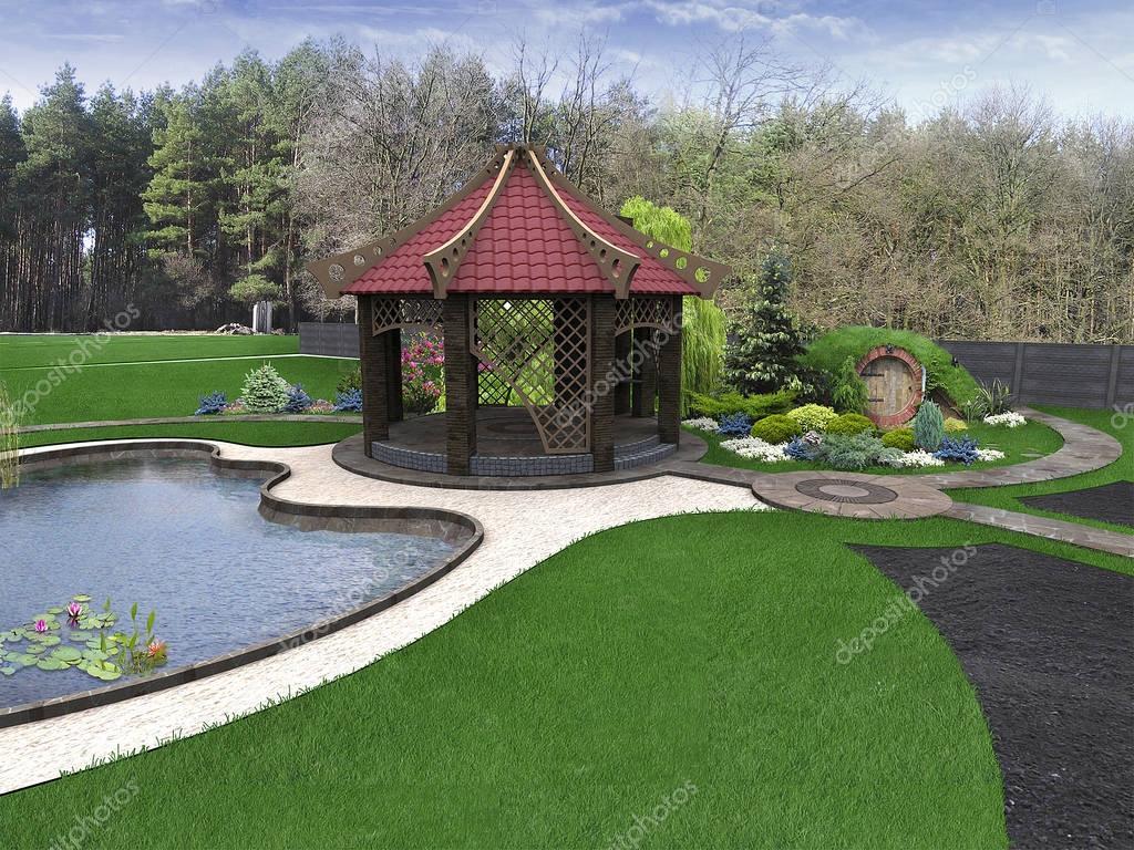 Backyard design ideas, 3d render