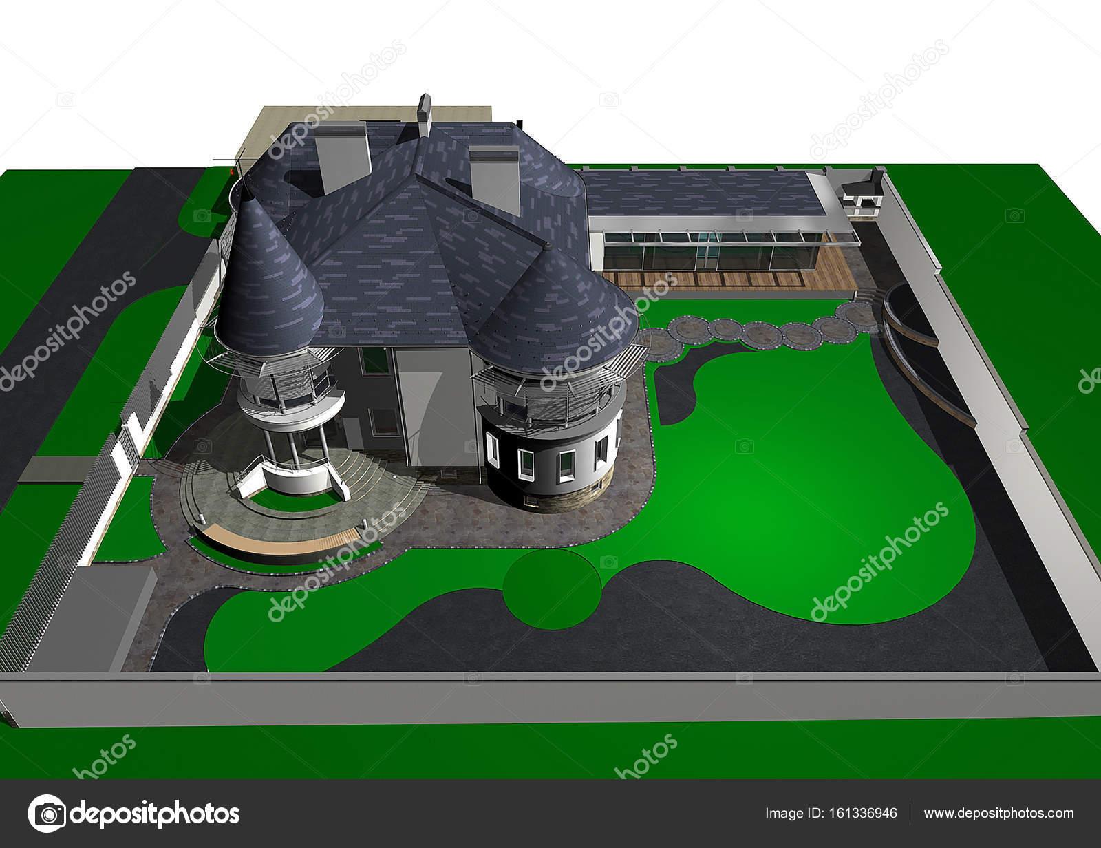 Zeitgenössische Burg Stilhaus, 3d render — Stockfoto © ThreeDiCube ...