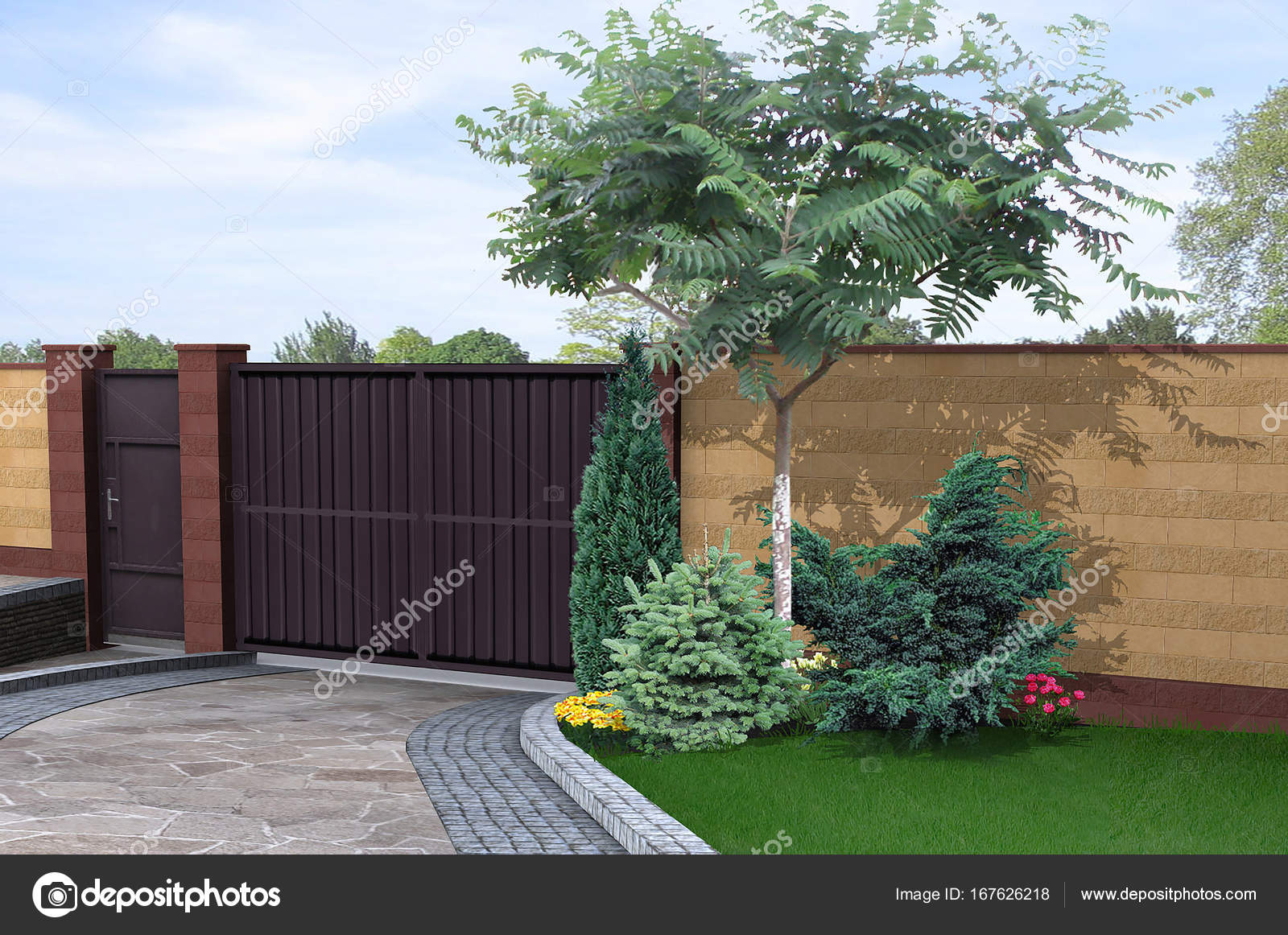Oprit en ommuurde tuin ontwerp ideeën 3d render u2014 stockfoto