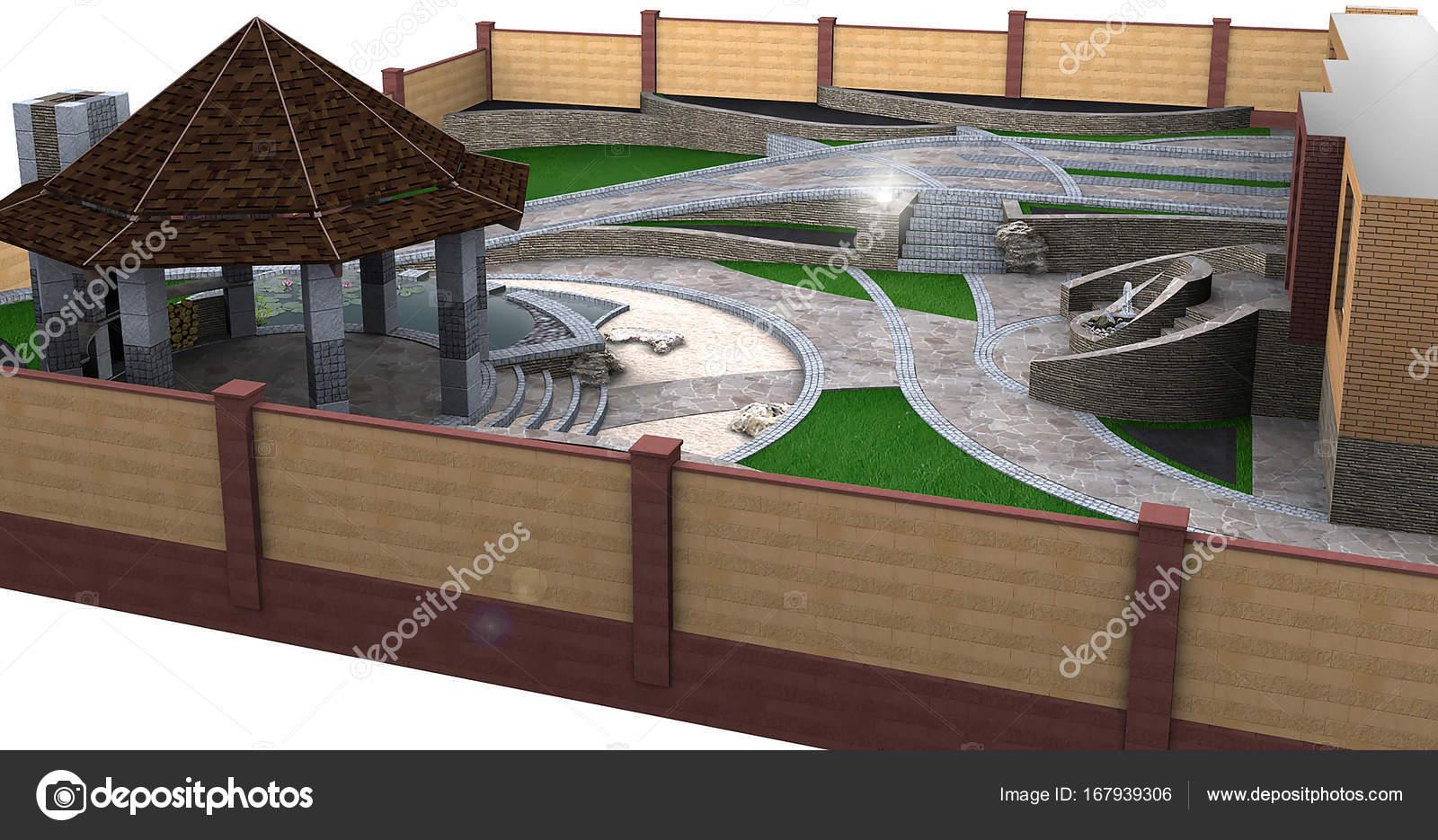 Tuin vijver en terrasplanken ideeën d rendering u stockfoto
