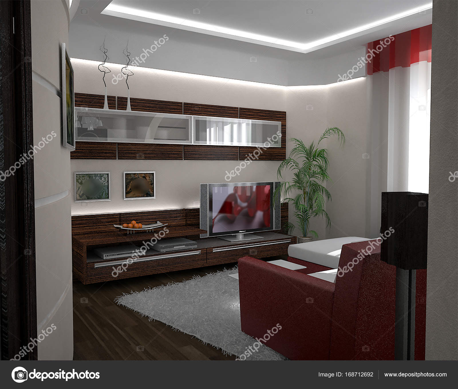 Drawing room interior design ideas 3d render stock photo