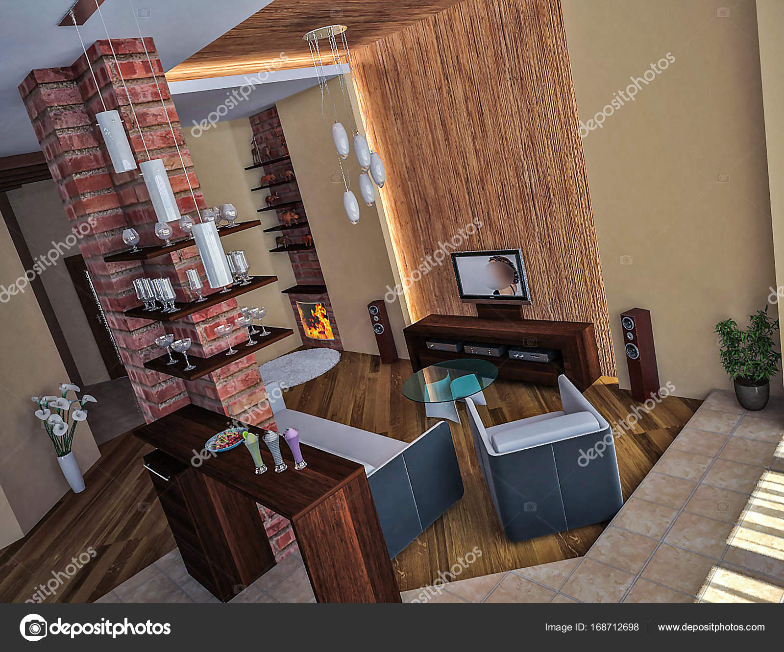 Loft-Interior Design-Ideen, 3d render — Stockfoto © ThreeDiCube ...