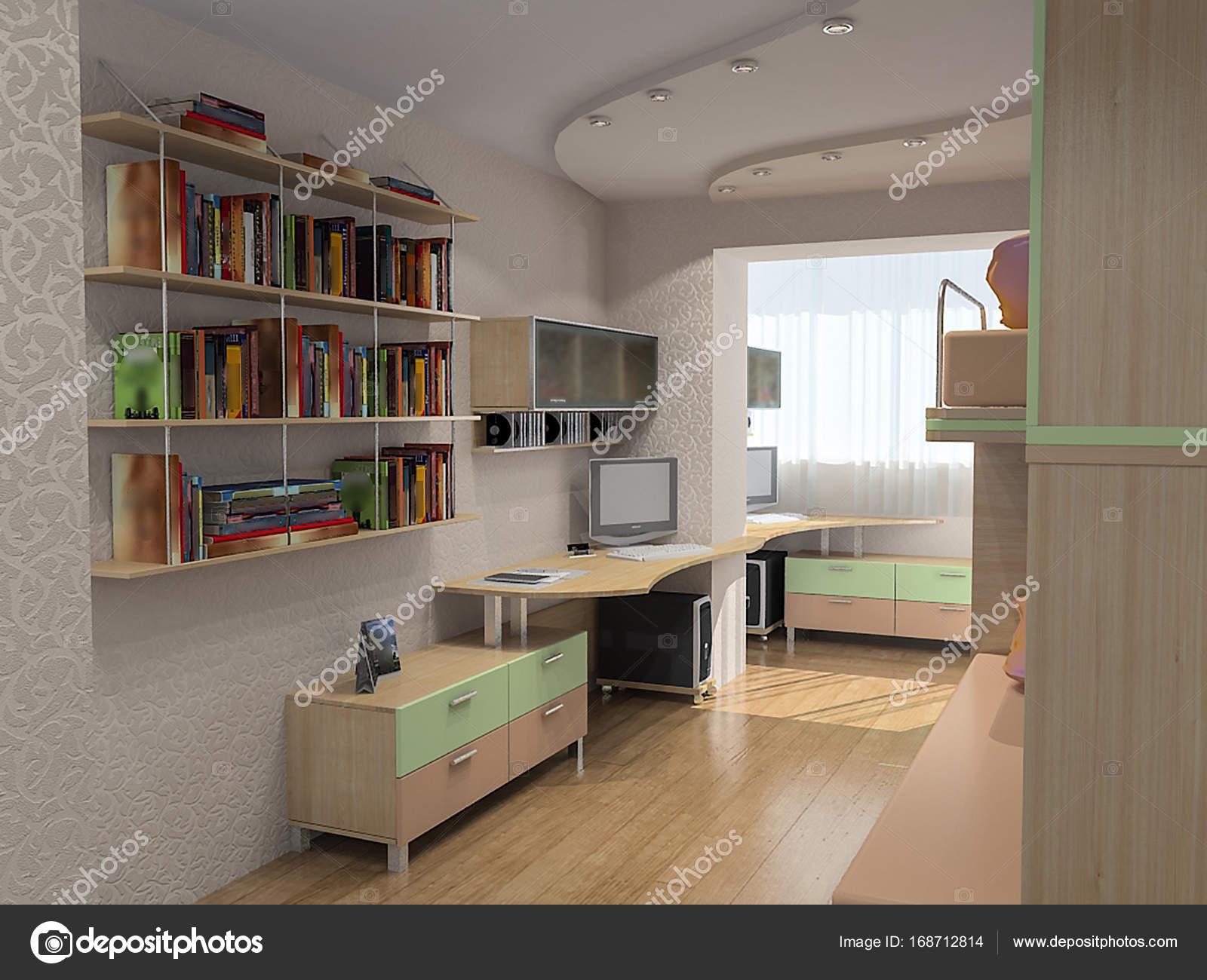 open concept kinderen slaapkamer ideen van het ontwerp 3d illustratie stockfoto