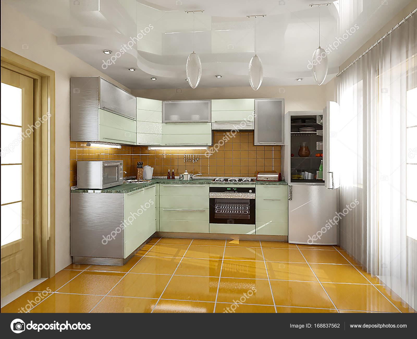 Ideeen Interieur Keuken : Keuken interieur ideeën 3d render u2014 stockfoto © threedicube #168837562