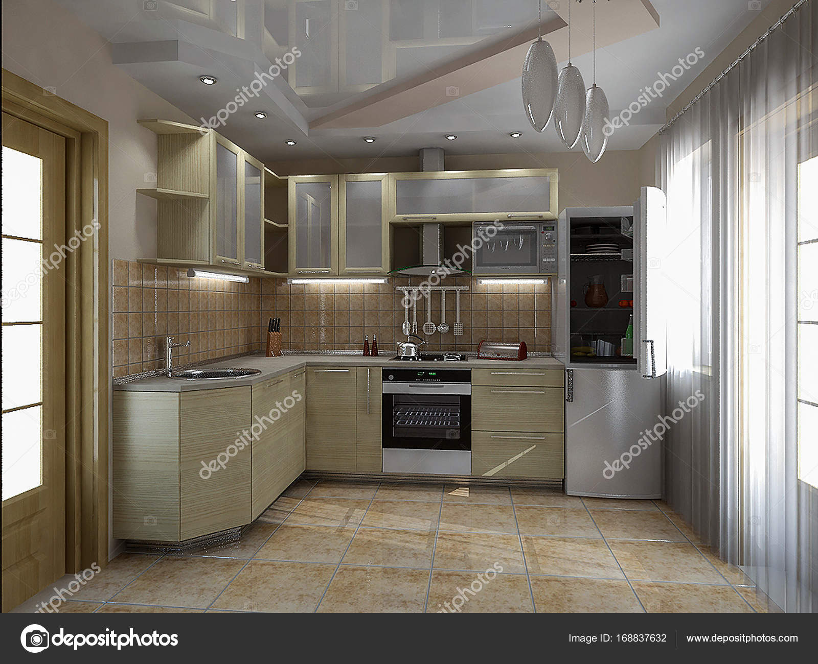 Küche Interieur Ideen, 3d render — Stockfoto © ThreeDiCube #168837632
