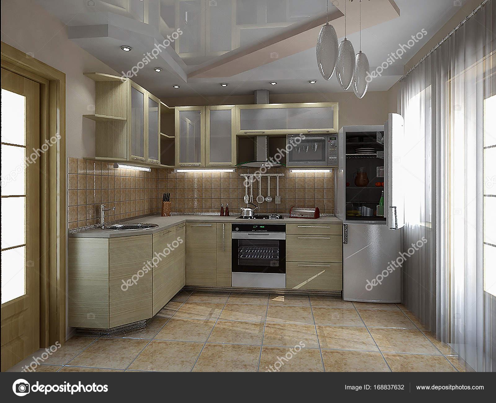 keuken interieur ideen 3d render stockfoto