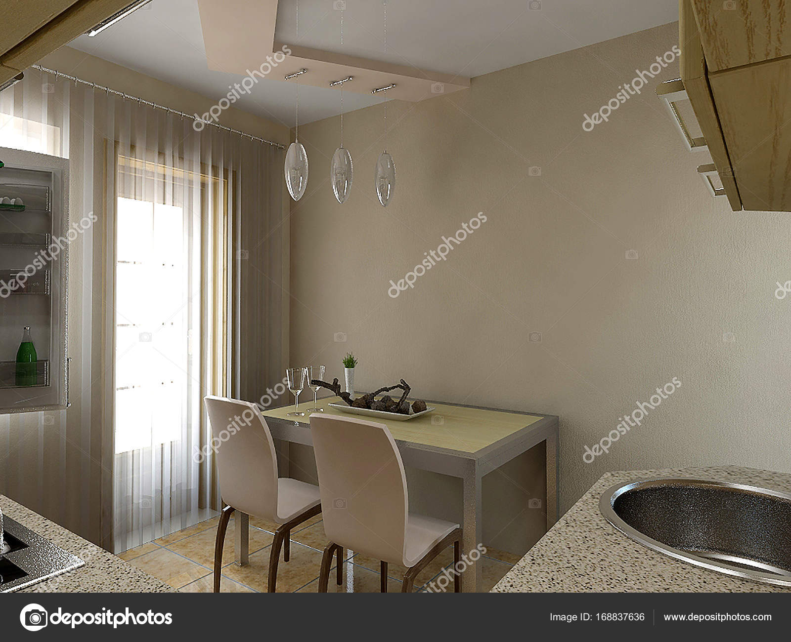 Küche Interieur Ideen, 3d render — Stockfoto © ThreeDiCube #168837636
