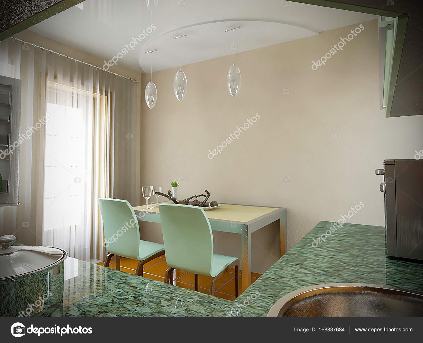 Keuken Design Ideeen : Keuken interieur ideeën 3d render u2014 stockfoto © threedicube #168837684