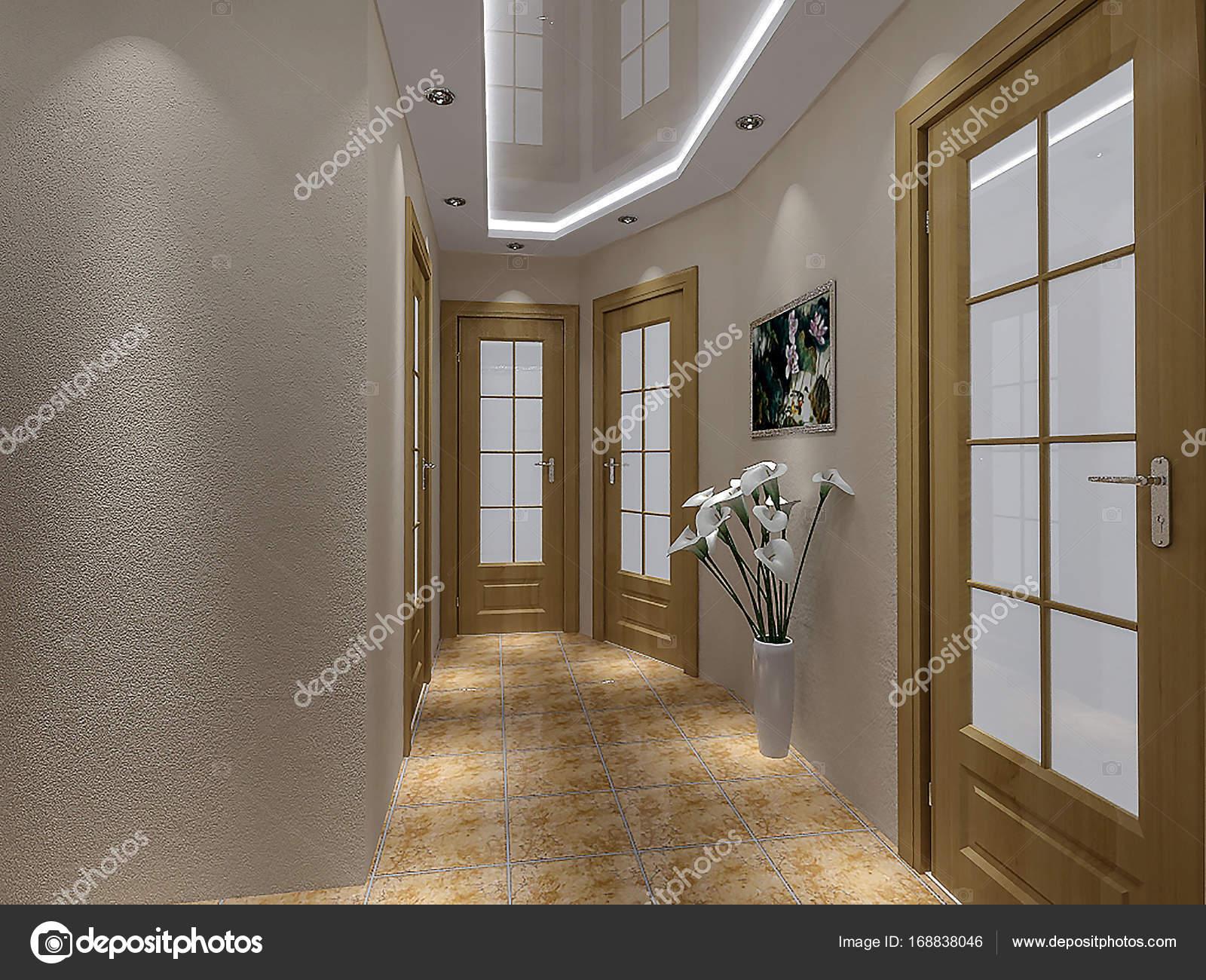 Design élégant couloir maison, illustration 3d — Photographie ...