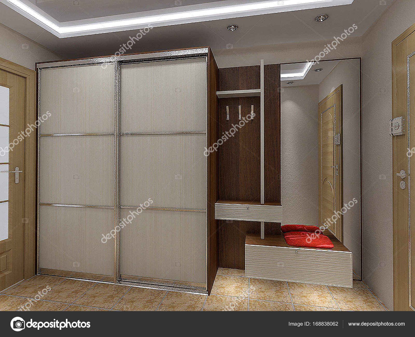 Modern entrance hall design ideas, 3D render — Stock Photo ...