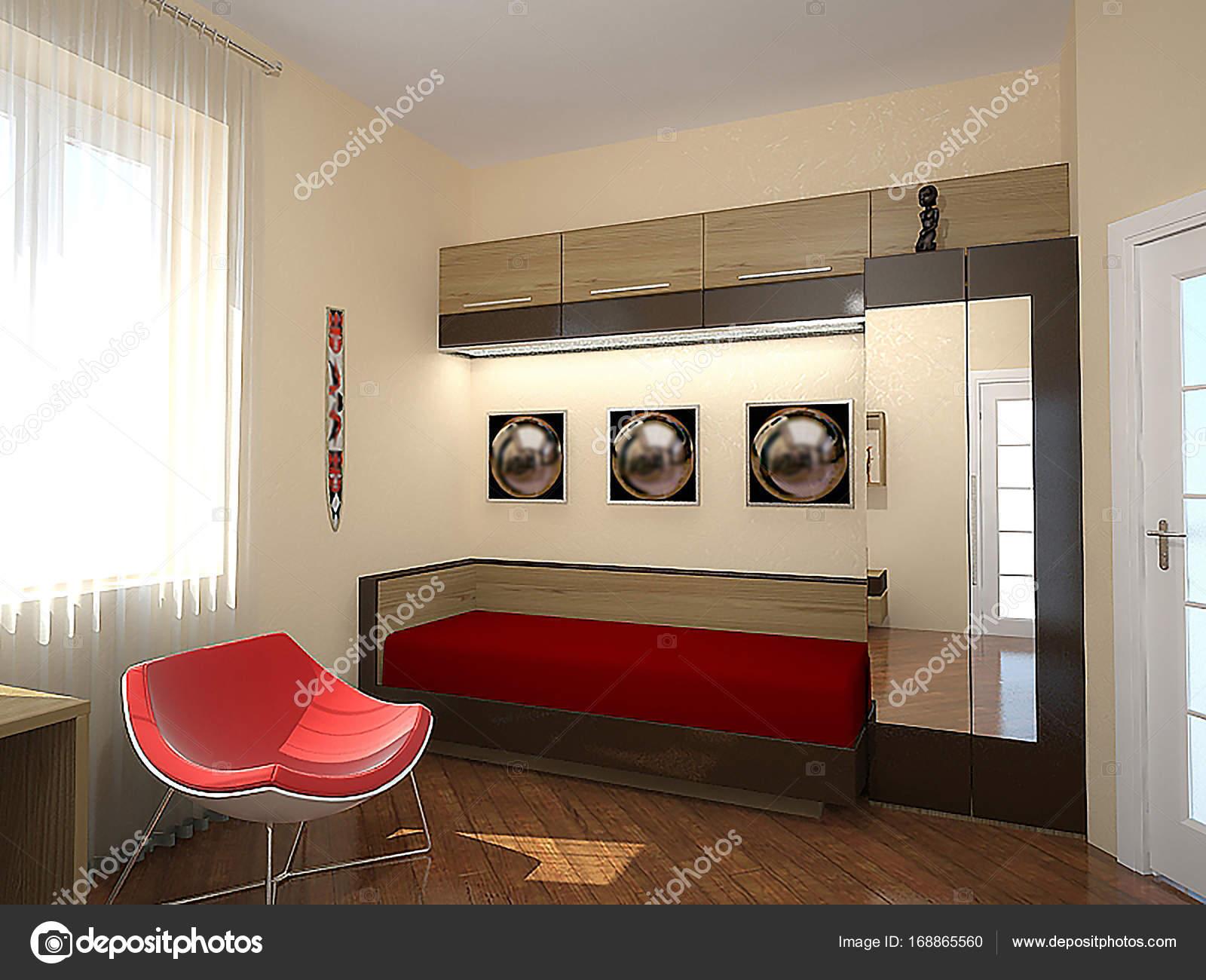 De inrichting van de retro stijl van slaapkamer 70s, 3d render ...