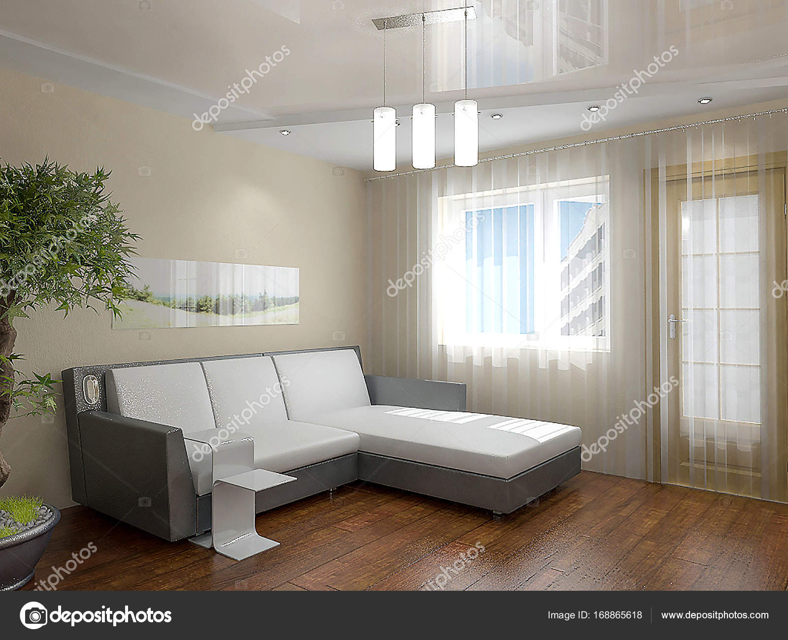 Woonkamer interieur idee n 3d render stockfoto for Interieur ideeen