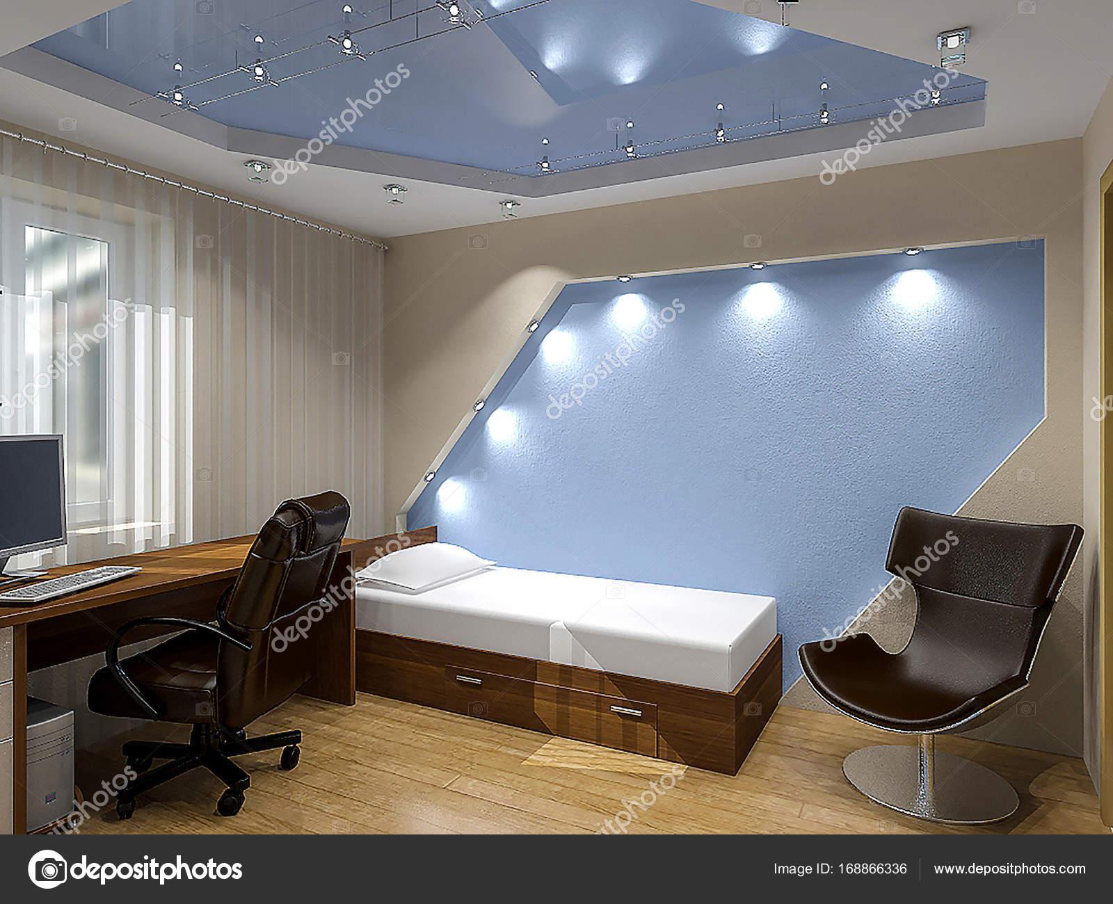 Tiener slaapkamer hedendaagse styling, 3d illustratie — Stockfoto ...