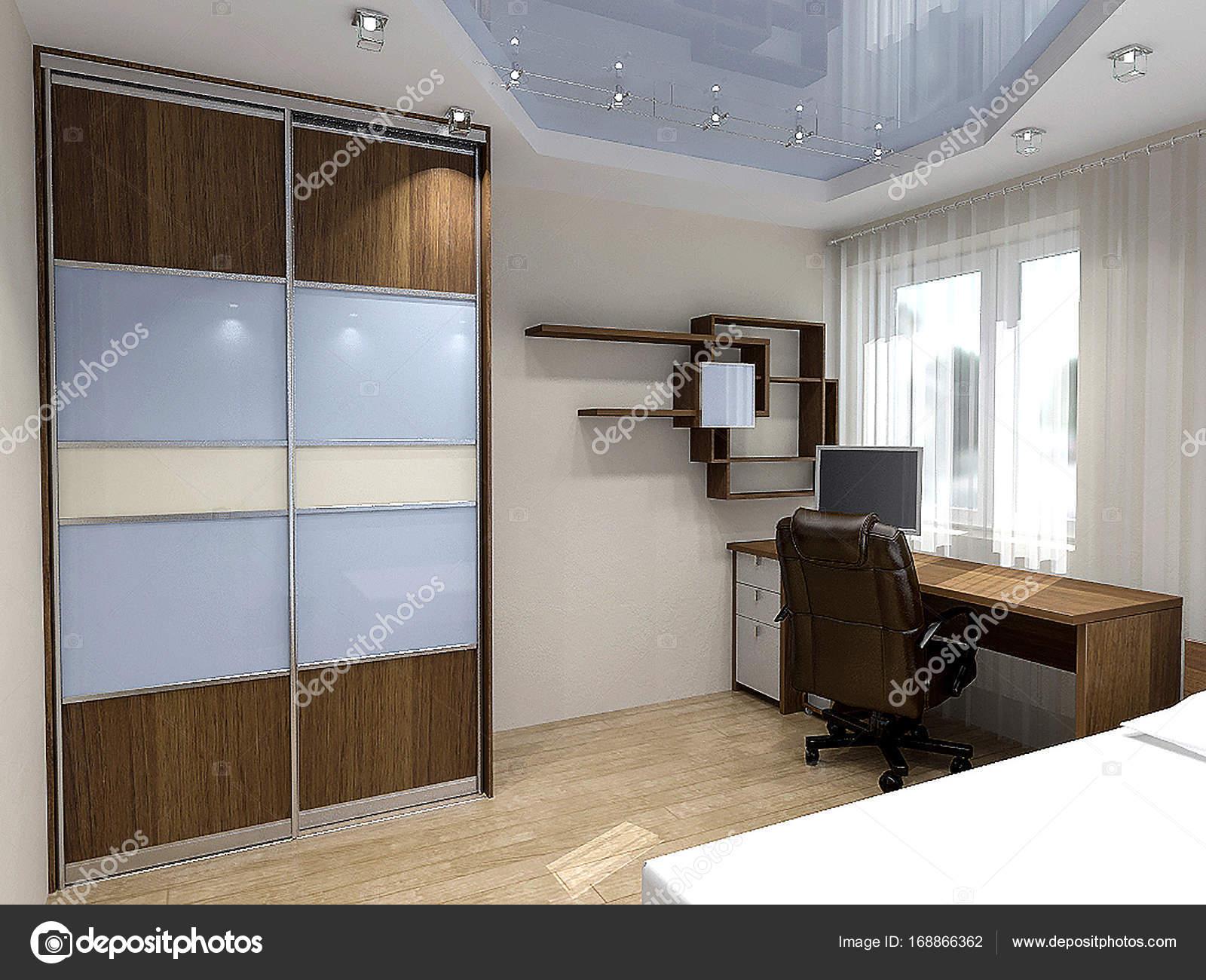 Slaapkamer hedendaagse styling, 3d illustratie — Stockfoto ...
