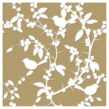 Vector pattern for laser cut with blackthorn berries and birds. Suitable for engraving, cutting wood, metal, plastic