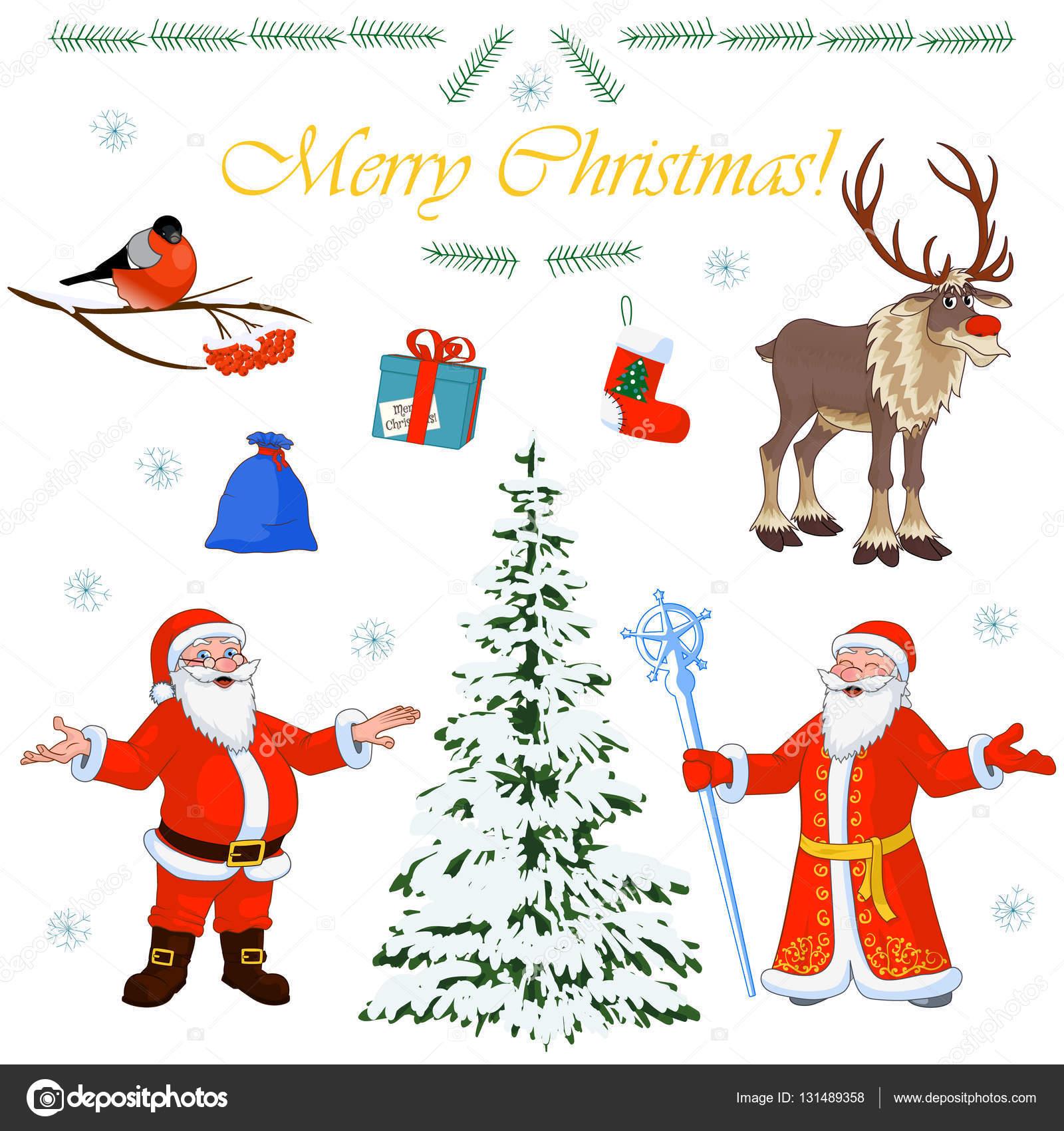Satz von Weihnachten Zeichen Weihnachtsmann und seine kleinen Helfer ...