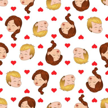Seamless pattern of kissing boy and girl. Liking hearts envelops them. Vector illustration