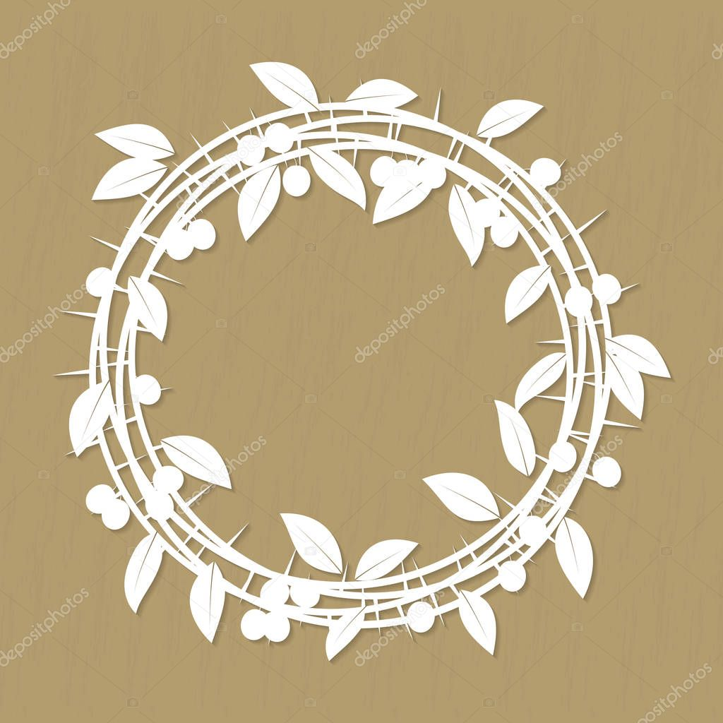 Blackthorn berries branches and leaves frame for laser or plotter cutting. Vector illustrations vintage design