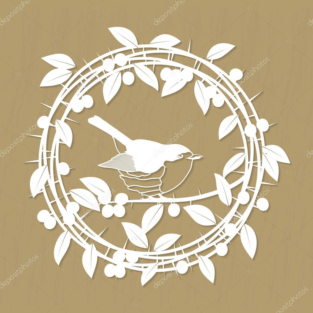 Blackthorn berries branches, leaves and robin bird frame for laser or plotter cutting. Vector illustrations vintage design
