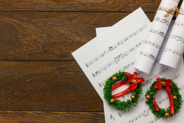 Top view Christmas background.Christmas music note paper.