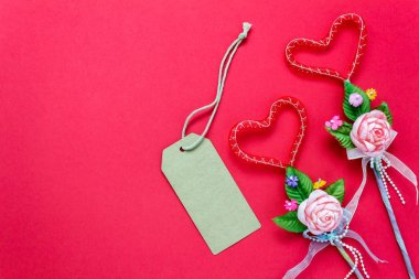 Top view valentines day background and decorations.love shape.