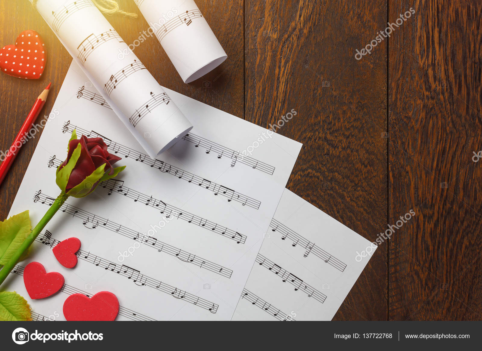 Top View Valentines Day Love Song Music Background Stock Photo