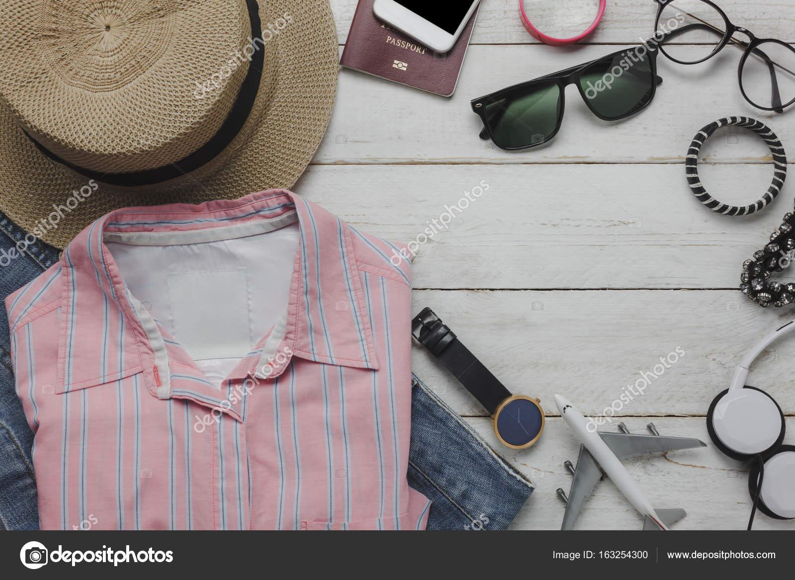 Wohnung Lag Der Kleidung Frauen Konzept Hintergrund Reisen U2014 Stockfoto