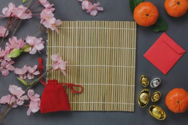 Overhead view of top essential items Happy Chinese new years.Other language means wealthy or rich and happiness.