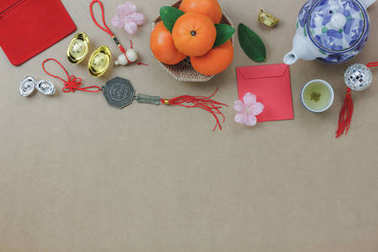Above view of top decorations Chinese New Year festive background concept.