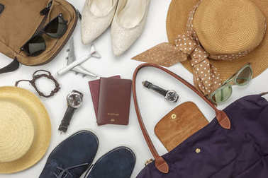 Overhead view of accessory travel and fashion men&women concept background.