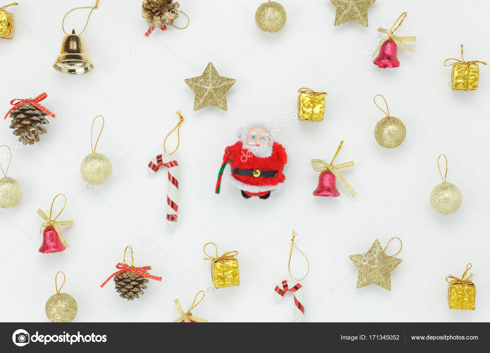 the office christmas ornaments. Flat Lay Of Decoration \u0026 Ornament Merry Christmas Concept.Santa Claus And Accessory For Season On The White Background.Variety Objects Arrangement Modern Office Ornaments