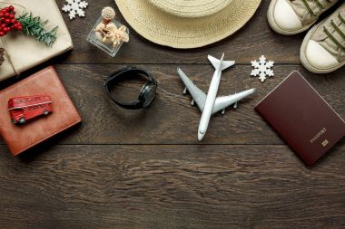 Above view shot of accessories fashion lifestyle to travel and Merry Christmas & Happy new year