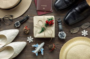 Accessory men & women to travel Christmas and Happy new year concept background