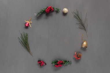 Above view of circle decorations & ornaments Merry Christmas & Happy New Year concept.Fir tree and essential accessories festive of winter