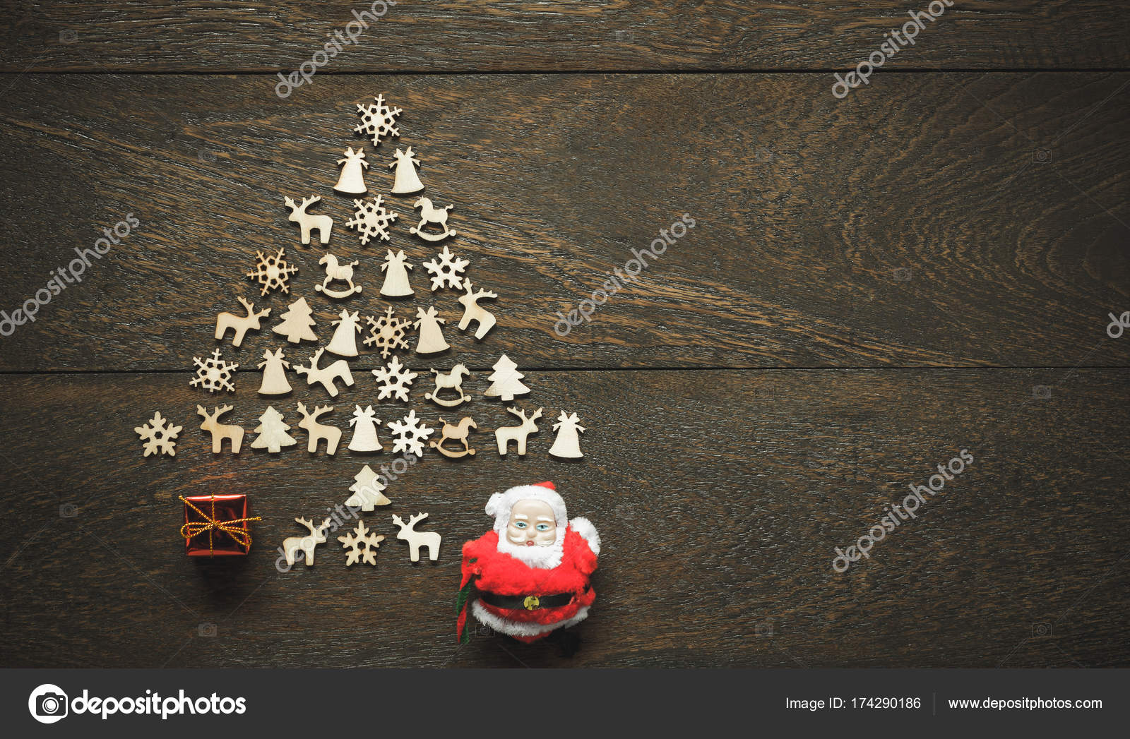 flat lay aerial image of arrangement composition christmas tree by handmade with decorations ornamentsmany objects on vintage grunge woodenessential