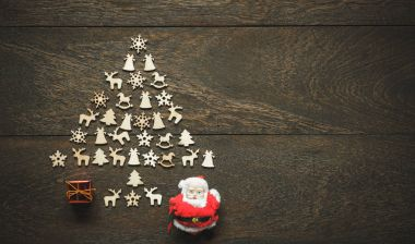 Flat lay aerial image of arrangement composition Christmas tree by handmade with decorations & ornaments.Many objects on vintage grunge wooden.Essential accessories for Merry Christmas & New year.