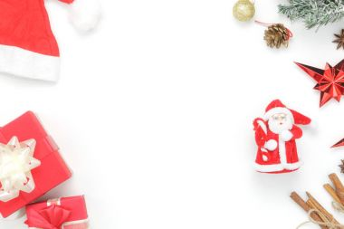 Above view aerial image of ornaments & decorations Merry Christmas & Happy new year concept.Essential accessories on white background.Table top beautiful object for winter season.Item home party decor