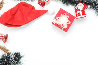 Above view aerial image of ornaments & decorations Merry Christmas & Happy new year concept.Essential accessories on white background.Table top beautiful object for winter season.free space design.